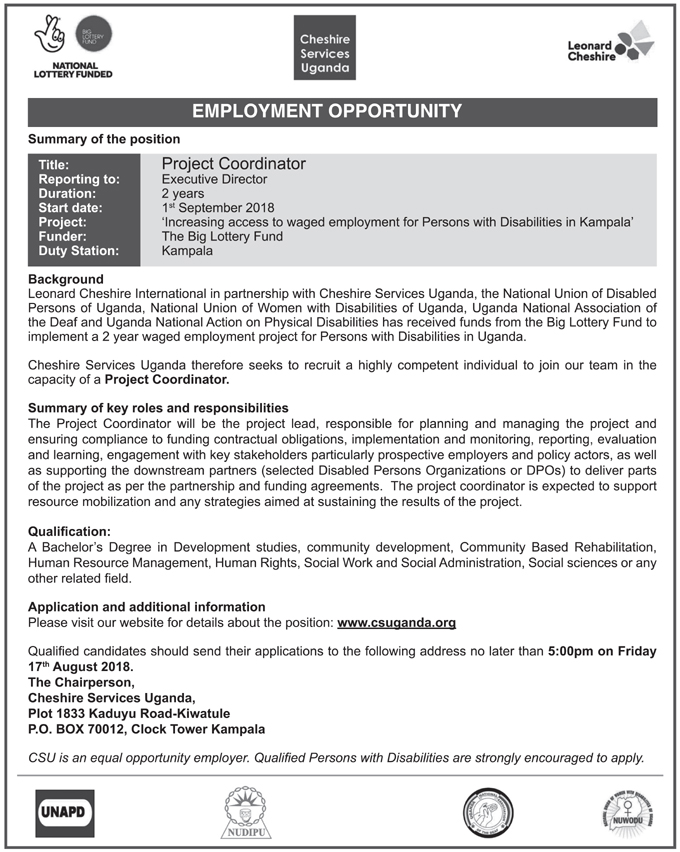 Jobs with Cheshire Services Uganda - New Vision Jobs - Jobs in Uganda