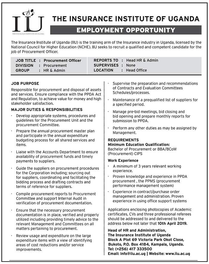 Procurement officer and HR needed - New Vision Jobs - Jobs
