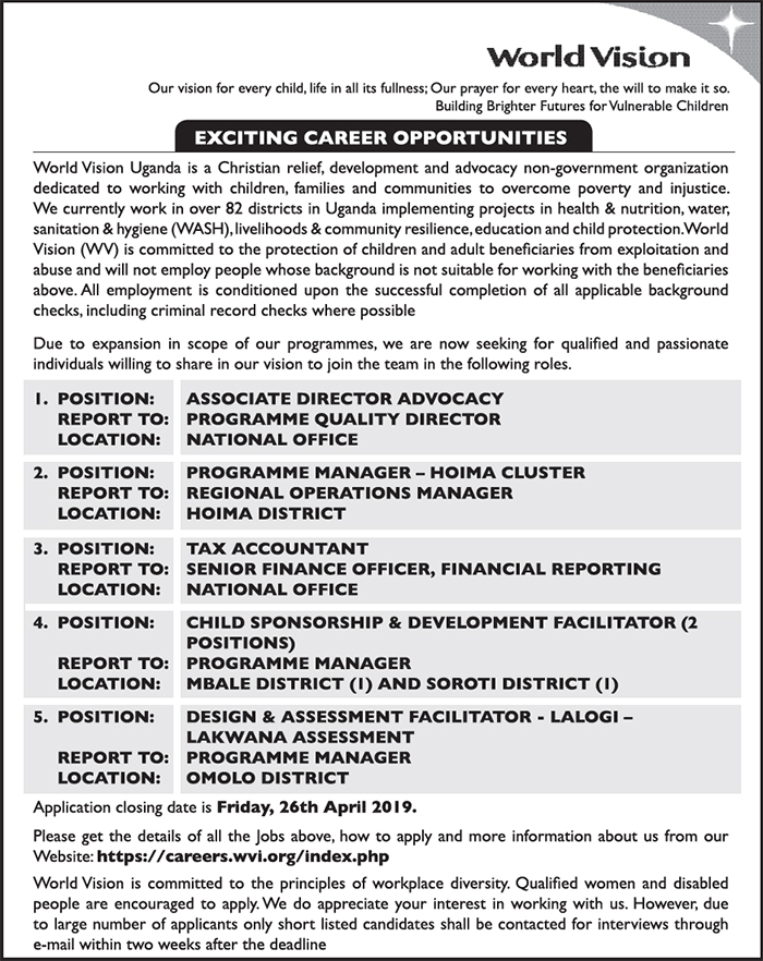 5 job openings with World Vision - New Vision Jobs - Jobs in