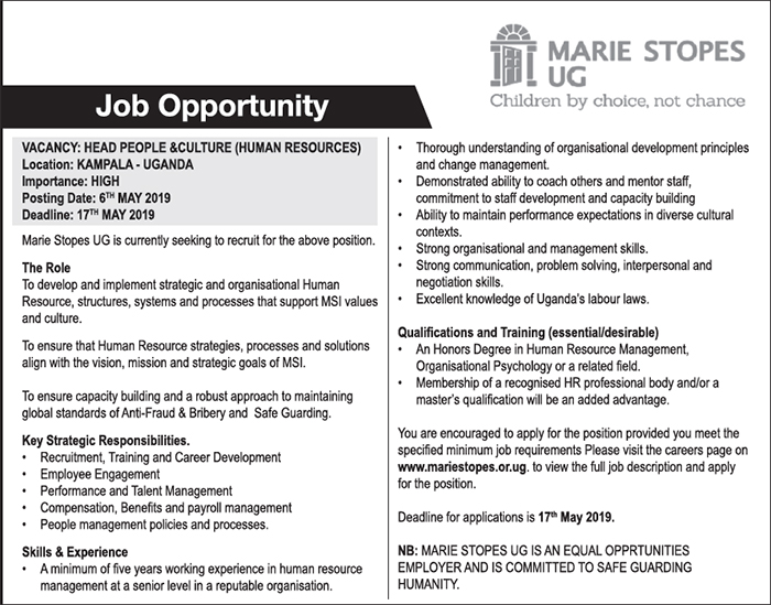 Marie Stopes UG seeks to hire a Head People & Culture (Human