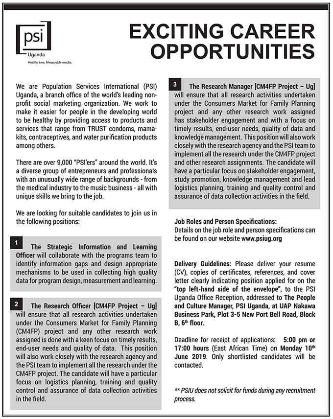 Research Manager and Officer needed - New Vision Jobs - Jobs