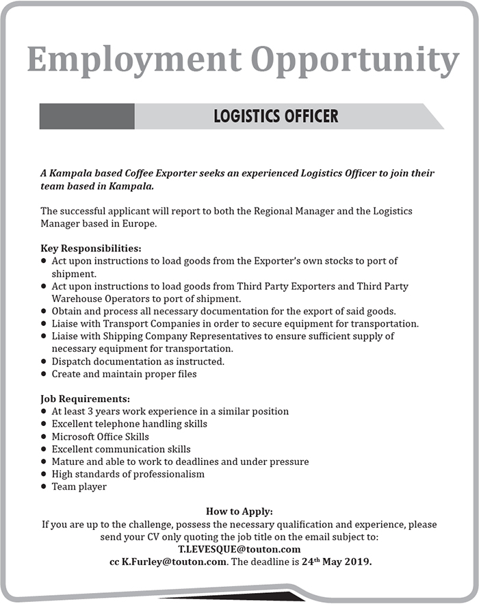 Logistics officer needed - Jobs at Touton | Ugashare com