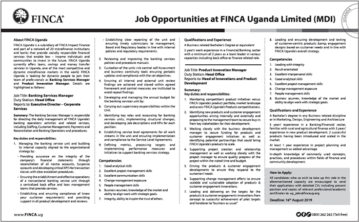 FINCA Uganda is looking for a Banking services manager - New Vision