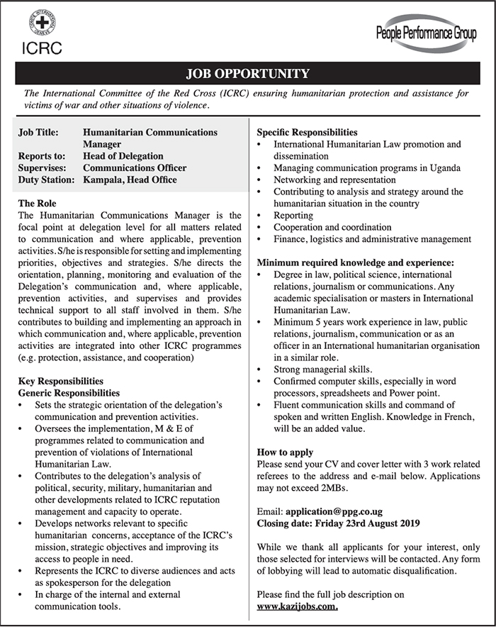 People Performance Group on behalf of ICRC is hiring - New