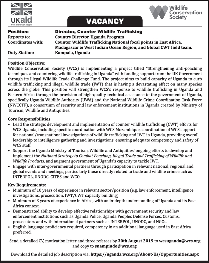 Wildlife Conservation Society (WCS) is hiring - New Vision