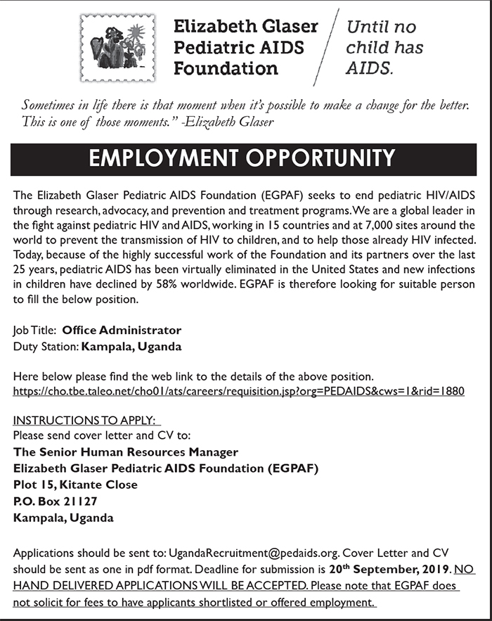 Employment opportunity with Elizabeth Glaser Pediatric AIDS